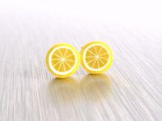 Tiny Lemon Earrings  yellow miniature citrus by ConstantBaubling, $11.00