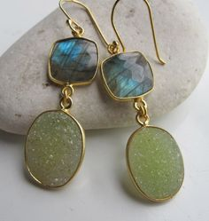 Labradorite exhibit flashes of color that are mesmerizing, which we pair it with Green Druzy that makes these a striking Statement Earring. Create your Earring with Belesas!