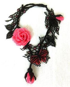 FREE SHIPPING OOAK beaded necklace with roses by Gemsplusleather