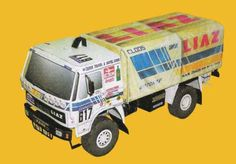 Dakar 1988 Liaz 111.154D Free Vehicle Paper Model Download - http://www.papercraftsquare.com/dakar-1988-liaz-111-154d-free-vehicle-paper-model-download.html#153, #Dakar, #LIAZ, #LIAZ111154, #VehiclePaperModel