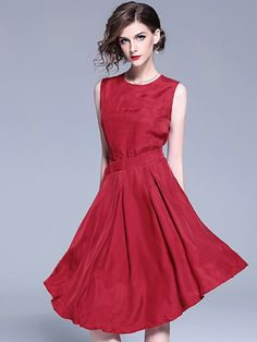 Simple Pure Color O-Neck Sleeveless Irregular Hem Skater Dress 0f564d653