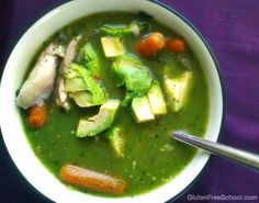 Green Gluten Free Crock Pot Chicken Soup. Make it tonight or pin it for later. Either way this recipe will NOT disappoint!