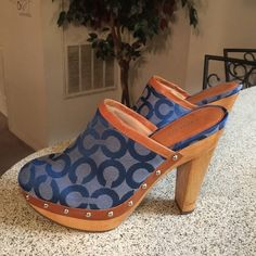 Coach Blue Bacall Signature C Clogs Sz 7 NWOT These authentic clogs are brand new and never worn. Coach Shoes Mules & Clogs