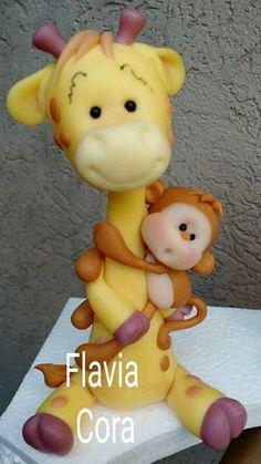 Jirafa y mono porcelana fría Polymer Clay Miniatures, Polymer Clay Crafts, Diy Clay, Giraffe Cakes, Safari Cakes, Chocolate Diy, Festa Toy Story, Food Art For Kids, Fondant Animals