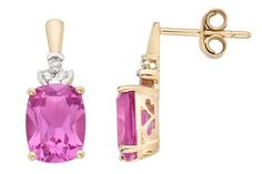 2 1/2 Carat Created Pink Sapphire and Diamond 14K Gold Earrings - ICE Price: $235.00