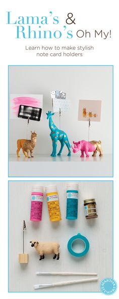 Gilded Animal Note Holder DIY Office Accessories is part of Plastic Animal crafts - Transform plastic animal figurines into chic note holders using Martha Stewart MultiSurface Acrylic Paint and liquid gilding Plastic Animal Crafts, Plastic Animals, Arts And Crafts Furniture, Arts And Crafts House, Crafts For Teens, Crafts To Make, Kids Crafts, Martha Stewart Crafts, Note Holders