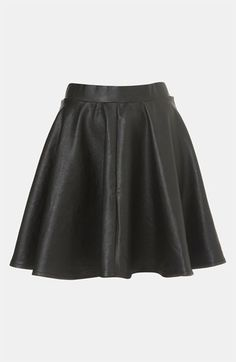 Topshop 'Andie' Faux Leather Skater Skirt available at #Nordstrom | I really, really, want a leather circle skirt.