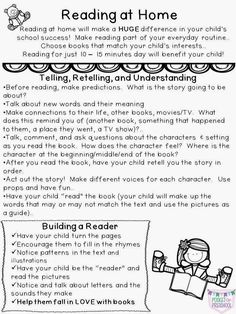 At Home Reading Parent Note includes reading and comprehension strategies, strategies to help their child develop as a reader, tips for making a reading nook, a list of ideas to make reading an adventure, and a list of media they can read other than books