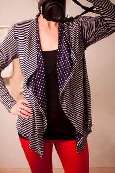 Market & Spruce Margerie Stripe & Dot Open Cardigan - really love the mix of patterns on this cardigan and the flattering fit.