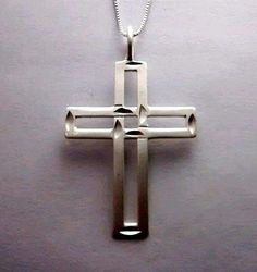 """Cross Necklace 925 Sterling Silver on 22"""" sterling silver box chain #SkipaBeat #Pendant"""