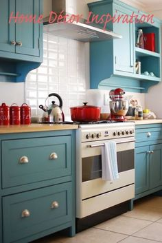 Red and Teal Kitchen Decor. Red and Teal Kitchen Decor. 50 orange and Blue Decor Inspiration 54 New Kitchen Cabinets, Kitchen Redo, Wall Cabinets, Turquoise Kitchen Cabinets, White Cabinets, Kitchen Modern, Kitchen Paint, Coloured Kitchen Cabinets, Kitchen Island