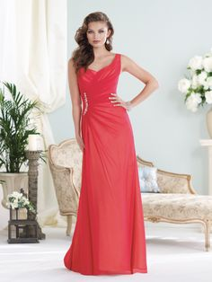 Sleeveless chiffon over satin slim A-line gown with soft sweetheart neckline, asymmetrically draped bodice with side brooch detail and concealed back zipper, suitable as a bridesmaid dress or a mother of the bride dress. Color shown: Red/Primrose. Only available in the following color palette combinations: Red/Primrose,Cotton Candy/Ivory, Orchid/Ivory, Sky Blue/Ivory, Mint/Ivory, Lemon/Ivory, Cappuccino/Ivory, Aubergine/Lemon, Teal/Black, [...]