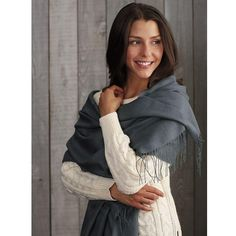 Stunning shawl brings together the sumptuous softness and lightweight warmth of baby alpaca and the glorious sheen of fine silk for twice the luxury.