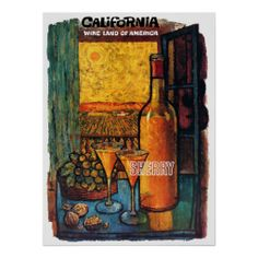 California Wine Land of America ~ Vintage Travel Posters