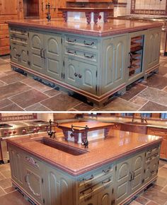 This kitchen island has been designed with working & storage in mind. It features a great wine fridge & extra deep hammered copper sink. Home built by Martin Bros. Contracting, Inc.