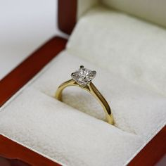 Yellow and White Gold Diamond Classic Solitaire Engagement Ring