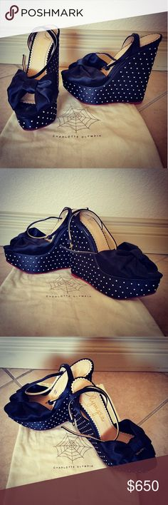 Charlotte Olympia Wedges Charlotte Olympia Wedges  Black with White Dot Accents  Comes with original CO protective shoe bag Used but in excellent condition Charlotte Olympia Shoes Wedges