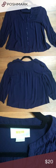 Anthropologie Maeve 3/4 Sleeve Navy Blouse Super cute navy blouse from Anthropologie. Button down. 3/4 sleeves. V-neck. Subtle ruffles around collar. Fairly flowy. 100% rayon. Size 2. Anthropologie Tops Blouses