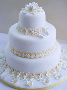 Tiered Cake with White Daisies