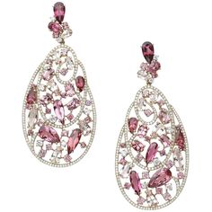 Pink Tourmaline Diamond Gold Earrings   1stdibs.com