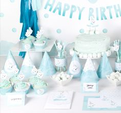 Polar Bear Party Deluxe Printable Party Pack for boys first birthday - Watercolour Party Hats, Cake Topper, Straw Flags & Leo Birthday, Little Girl Birthday, Boy First Birthday, First Birthday Parties, First Birthdays, Birthday Ideas, Polar Bear Party, Penguin Party, Bridal Shower Cakes