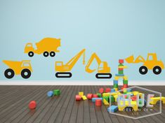 Vinyl wall decals of five construction vehicle/trucks. Each set comes with one…