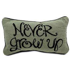 Peter Pan Pillow - ''Never Grow Up'' Disney Store Peter Pan Bedroom, Peter Pan Nursery, Disney Parks, Disney Throw Pillows, Neverland Nursery, Pirate Nursery, Nursery Boy, Themed Nursery, Disney Store