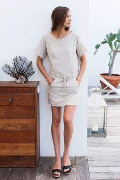 Drawstring Raglan Dress - Flax