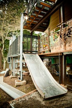 A salvaged slide can be used instead of the steps if you want.