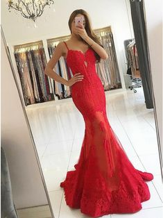 Mermaid Spaghetti Straps Sweep Train Red Prom Dress with Appliques , for $133.99 only in cubejelly.com.