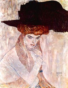 Gustav Klimt ~ The Black  ~ Hat ~ 1910