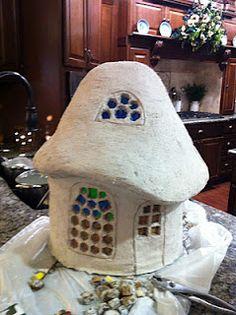 Paper cast gnome house