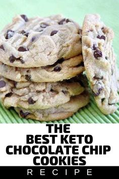 The best keto chocolate chip cookies low carb keto diet recipe - Dessert Keto Chocolate Chip Cookie Recipe, Keto Chocolate Chips, Chocolate Cookies, Low Carb Desserts, Low Carb Recipes, Diet Recipes, Smoothie Recipes, Veggie Smoothies, Keto Snacks