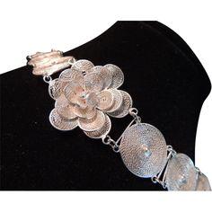 Vintage Mexican Silver Filigree Disc Bracelet