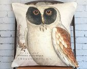 Pillow Cover Autumn Owl Cotton and Burlap Pillow