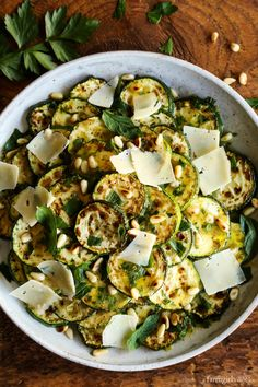 Grilled Zucchini Salad with Lemon-Herb Vinaigrette from afarmgirlsdabbles.com