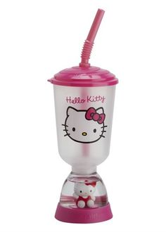 Hello Kitty Snow Globe Drink Container with Straw - for me and rach for our grown up jobs