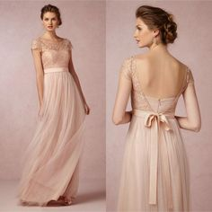 2015 Cheap Lace Long Bridesmaid Dress Blush Pink Scoop Short Sleeves Lace Tulle Maid of Honor Backless Beach Wedding Party Dress EM03248 Online with $76.34/Piece on Magicdress2011's Store | DHgate.com