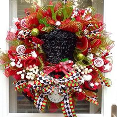 SALE Ready to Ship  Christmas Top hat Wreath wreath by WreathsEtc