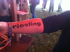 """A (faux, fortunately) tattoo at Outside Lands' """"Wine Lands"""" tent. http://www.mercurynews.com/food-wine/ci_21287236/food-wine-and-beer-at-san-francisco-outside-lands-festival"""