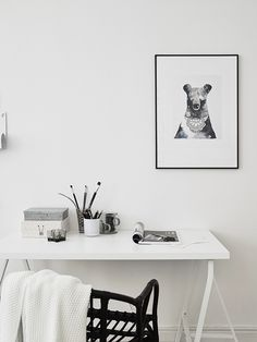 monochrome home offi