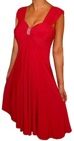 Funfash Plus Size Red Dress Slimming Empire Waist Cocktail Dress New Women's Dress
