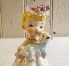Vintage Little Girl with Lamb Figurine Made in by KitschyVintage
