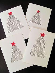 Easy, cute DIY Christmas Cards - another Advent Fundraiser idea Diy Christmas Cards, Noel Christmas, Simple Christmas, Handmade Christmas, Easy Diy Xmas Cards, Christmas Postcards, Christmas Fabric, Christmas Decor, Navidad Simple