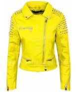 Women Full Yellow Silver Studded Punk Hot Club Unique Rock Biker Leather Jacket Handmade item Made to order Materials silver studs, leather Studded Jacket made with 100 % Genuine Top Quality Cowhide Leather Silver Studded Manufacturing .