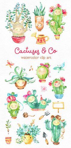 Cactus & Co. Cute Floral aquarelle clip art plantes