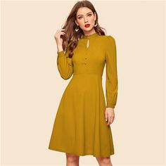 Shop & Buy Mustard Keyhole Neck Cutout Covered Button Detail Midi Dress Women Spring Autumn Solid High Waist Flared Vintage Dresses Online from Aalamey Vestidos Vintage, Vintage Dresses, Fit Flare Dress, Fit And Flare, Style Année 70, Mode Vintage, Vintage Type, Latest Dress, Collar Dress
