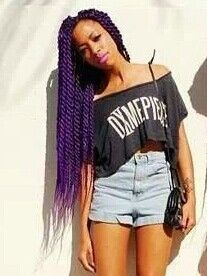 Purple thick long braid locks twisted hair. Pretty hair for a youthful and beautiful black woman.