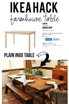 Ikea hack for dining room table - Pottery Barn imitation