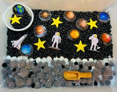5, 4, 3, 2, 1 BLAST OFF! The Space Sensory Bin is perfect for your little space lover…or even for introducing them to space! It comes with your choice of regular astronauts or Barbie astronauts. Also included are planet fact sheets to include some learning in the fun sensory experience. The 9 laminated planets velcro to the fact sheets so your little one can match the planets as you read them the corresponding facts. Sensory play is vital for cognitive development, problem solving, fine motor sk Toddler Sensory Bins, Sensory Boxes, Sensory Table, Sensory Play, Space Theme Preschool, Space Activities, Montessori Activities, Activities For Kids, Preschool Workbooks